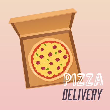 Pizza in the opened cardboard box. Delivery.  Flat design style modern vector illustration. Illustration