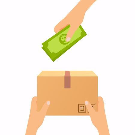 Koncepcja usługi doręczeń. Płatność gotówką przy odbiorze. Płaska konstrukcja nowoczesny styl ilustracji wektorowych.