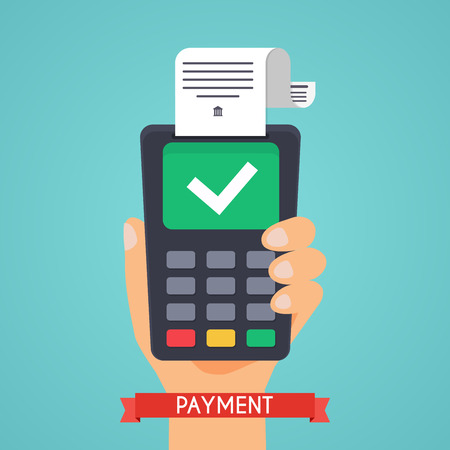 internet terminal: Pos terminal in flat style. Pos payment.  Flat design modern vector illustration concept.