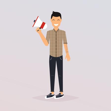 Man speaking through megaphone. Social media marketing concept. Promoter advertising using megaphone. Flat design modern vector illustration concept.