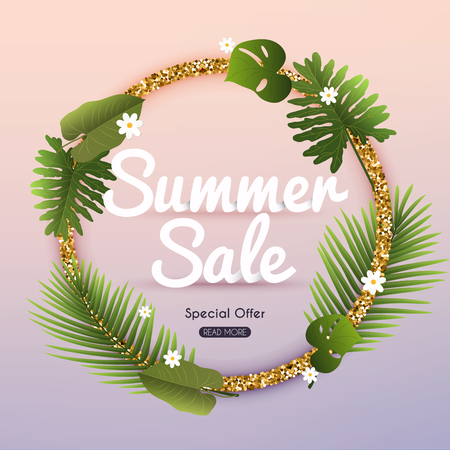 Summer Sale Banner with tropical plants. Poster, Flyer. Blurred background. Vector illustration.