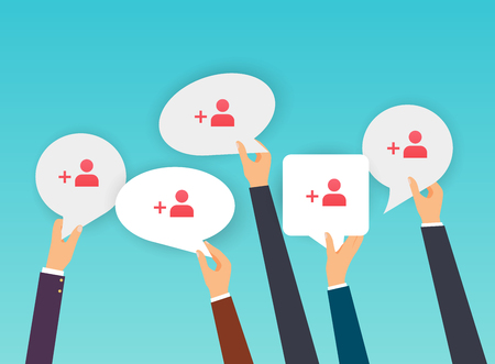 People holding Speech Bubbles with subscribers icon. Flat design modern vector illustration concept.
