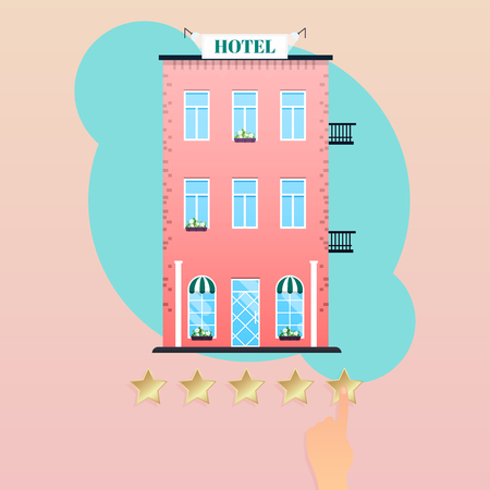 Hand giving five star rating to hotel. Hand choosing positive review. Flat design modern vector illustration concept.