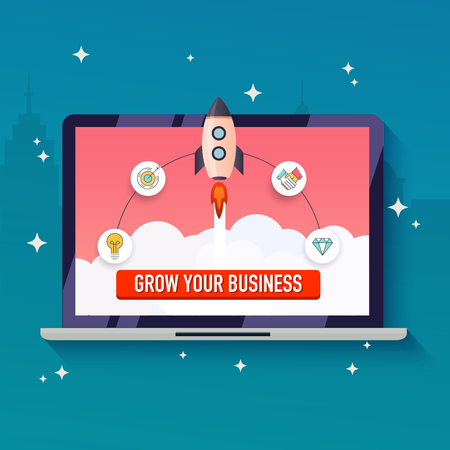 small business: Grow your business concept. Flat design modern vector illustration.