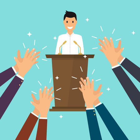 Éxito en los negocios. Hombre dando un discurso en el escenario. Manos humanas aplaudiendo. Plano de diseño moderno concepto de ilustración vectorial.