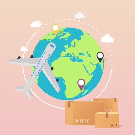 World Wide Delivery. Vector illustration of a world globe, an airplane and boxes. Illustration
