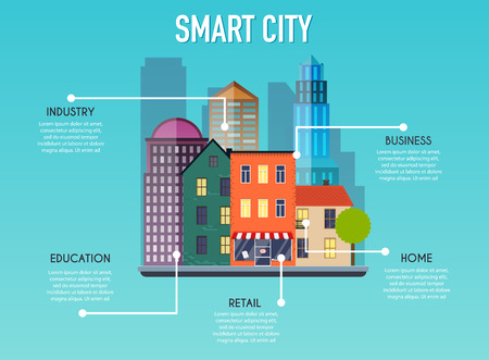 city background: Smart city concept. Modern city design with future technology for living.  Flat design style modern vector illustration concept.