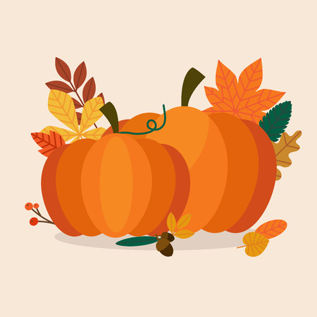 Autumn Pumpkins and leaves. Flat design modern vector business concept. Illustration