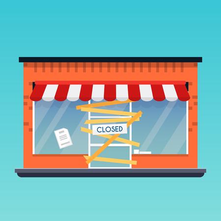 Store shop is closed/bankrupt. Flat design modern vector business concept. Stock Illustratie