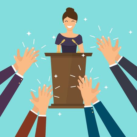 Succes in het bedrijfsleven. Vrouw die een toespraak op stadium geeft. Menselijke handen klappen. Platte ontwerp moderne vector illustratie concept.
