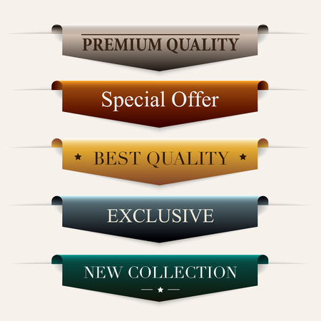 Collection of  premium promo seals/stickers. Isolated vector illustration. Vettoriali