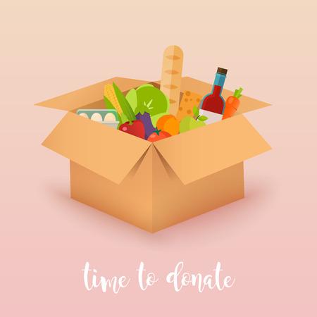 Il est temps de faire un don. Don alimentaire Boîtes pleines de nourriture. Illustrations de concept de vecteur. Vecteurs