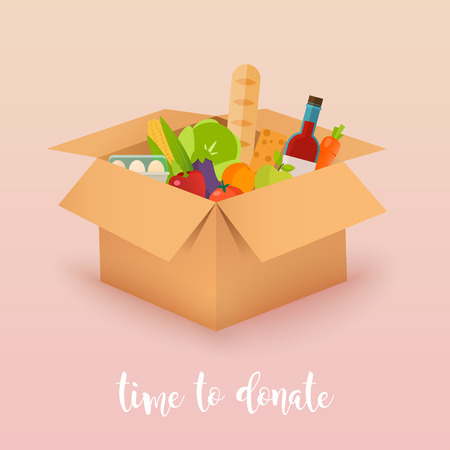 Time to donate. Food donation. Boxes full of food. Vector concept illustrations.