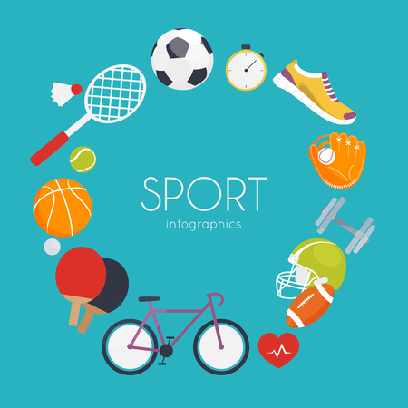 Concept of sport. Icons for web: fitness, sport equipment, and metrics. Flat design vector illustration.
