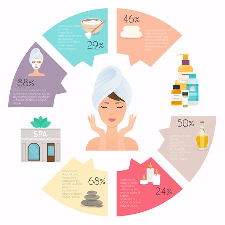 스파 및 웰빙 infographic 집합입니다. 자연 화장품 및 건강 아이콘입니다. 플랫 디자인 스타일 현대 벡터 일러스트 레이 션 개념. 일러스트