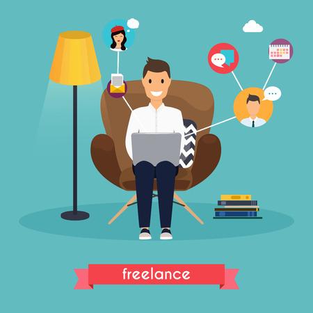 Man aan het werk thuis. Jonge man zittend op een stoel en met behulp van laptop. Freelance, zelfstandig, vrijheid, in de woonkamer.