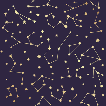 Constellations seamless pattern. Golden stars. Vector illustration. Illustration
