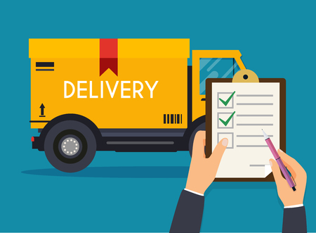 Hand holding clipboard with delivery tracking check.  Flat design modern vector illustration concept.