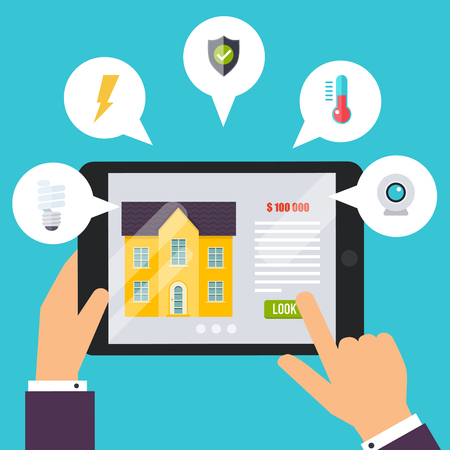 Home control application concept, smart house. Hand holding tablet with home control application. Technology system with centralized control. Illustration