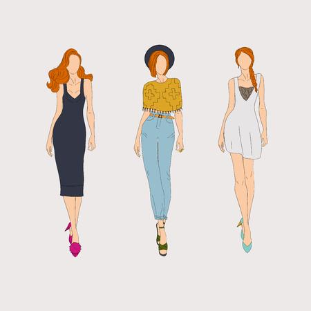 Hand drawn fashion models. Vector illustration concept.