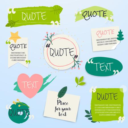 Citar plantilla en blanco. Plantilla de texto de cita creativa con diseño de hoja verde.