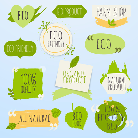 Collection of green labels and badges for organic, natural, bio and eco friendly products. Vintage vector,green colors. Illustration