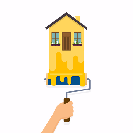 Hand holding roller brush and painting a house. Flat design modern vector illustration concept. 矢量图像