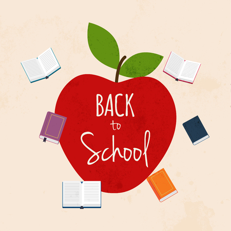 Back to school illustration with apple and books on the background. Flat design modern vector illustration concept.