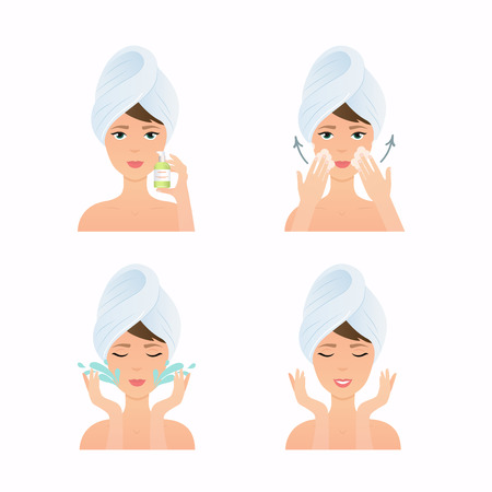 Face care routine. Girl Cleaning And Care Her Face. Steps how to apply cleansing gel. Skincare vector.  イラスト・ベクター素材