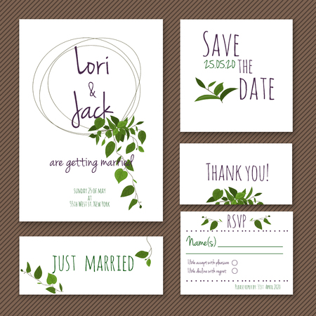 Wedding invitation card set. Thank you, save the date, RSVP, just married.