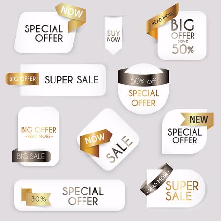 Collection of golden premium promo seals/stickers. Isolated vector illustration. Ilustração