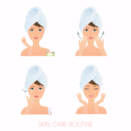 Face care routine. Girl Care Her Face. Steps how to apply facial serum.  Skincare vector.