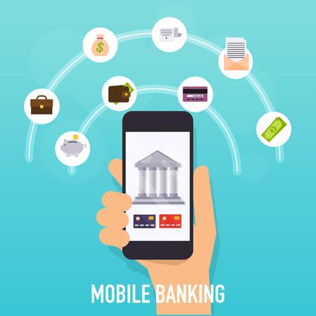 Concetti di illustrazione vettoriale design piatto dei metodi di pagamento online. Internet banking, acquisti e transazioni, trasferimenti elettronici di fondi e bonifico bancario.