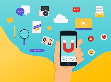 Social Media Marketing SMM explained. Flat design modern vector illustration concept. Illusztráció