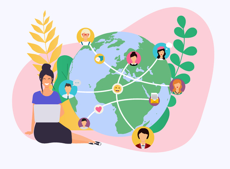 Business woman with a laptop. Social network and teamwork concept for web info graphic. Set of people avatars and icons. Communication Systems and Technologies. Vecteurs