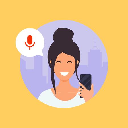 Donna che parla al telefono con l'assistente vocale digitale. Concetto di illustrazione vettoriale moderno design piatto.