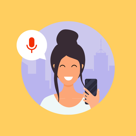 Woman talking on the phone with the digital voice assistant. Flat design modern vector illustration concept.
