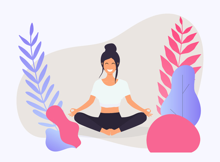 Woman in poses of yoga. Healthy lifestyle. Vector illustration. Vectores