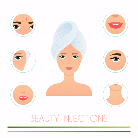 Beauty injections. Different types of injections Beauty. Micro plastic surgery concept. Female rejuvenation treatment infographics.  イラスト・ベクター素材