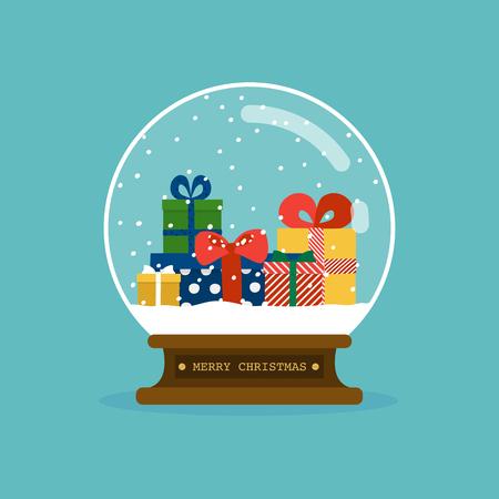 Merry christmas glass ball with christmas gifts. Flat design modern vector illustration concept. Stockfoto - 127413673