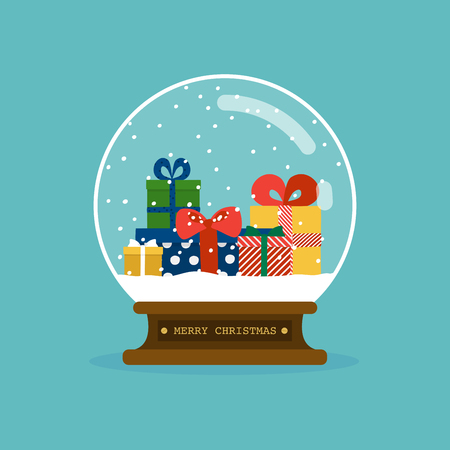Merry christmas glass ball with christmas gifts. Flat design modern vector illustration concept.