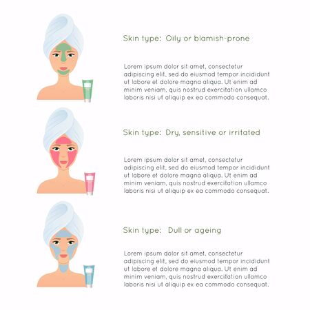 How to apply multiple face masks. Face care routine. Girl Care Her Face.  Skincare vector.
