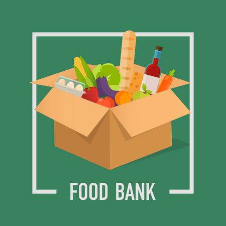 Einfache Konzeptillustration der Nahrungsmittelbank. Zeit zu spenden. Lebensmittelspende. Kisten voller Lebensmittel. Vektorkonzept Illustrationen. Vektorgrafik