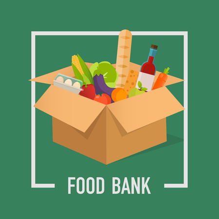 Food Bank simple concept illustration. Time to donate. Food donation. Boxes full of food. Vector concept illustrations. Vettoriali