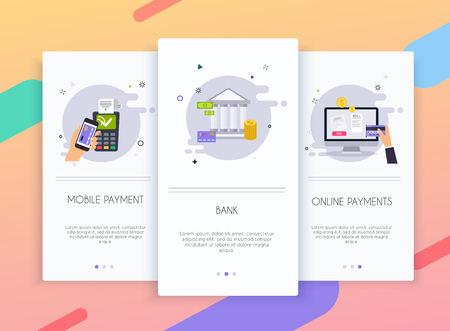 Onboarding screens user interface kit for mobile app templates concept of online payment methods. Internet banking, purchasing and transaction, electronic funds transfers and bank wire transfer.
