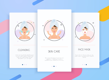 Onboarding screens user interface kit for mobile app templates concept of skin care. Steps how to apply facial mask. Skincare vector.