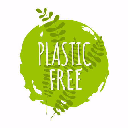Plastic free organic products stickers. Eco lifestyle. Vector illustration.