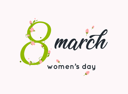 International women's day greeting card. 8 March. Typography poster with handwritten calligraphy text. Vector illustration.