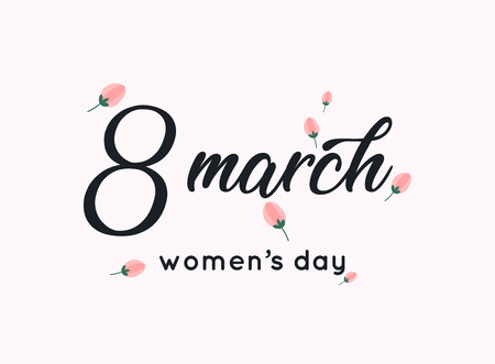 International womens day greeting card. 8 March. Typography poster with handwritten calligraphy text. Vector illustration. Çizim