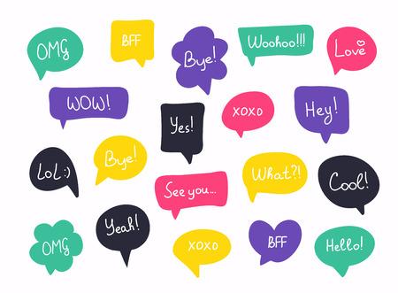 Burbujas de discurso de preguntas coloridas en diseño plano con mensajes cortos. Ilustración de vector